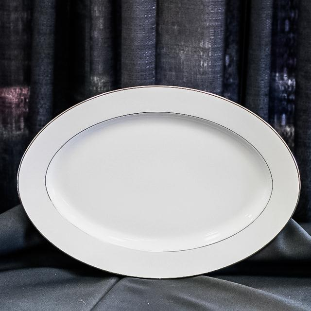 Where to find SILVER BAND LARGE WHITE PLATTER in Longview