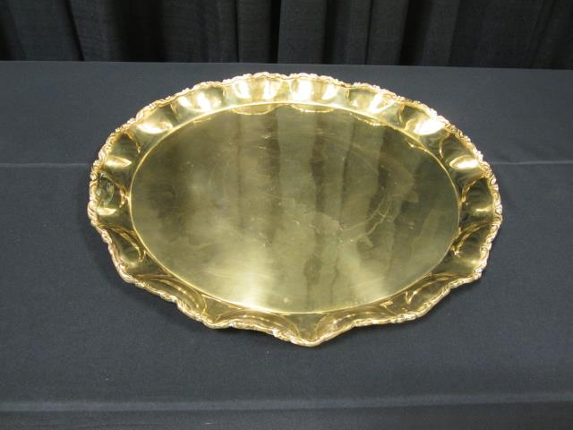 Where to find 23  ROUND BRASS SCROLL TRAY in Longview