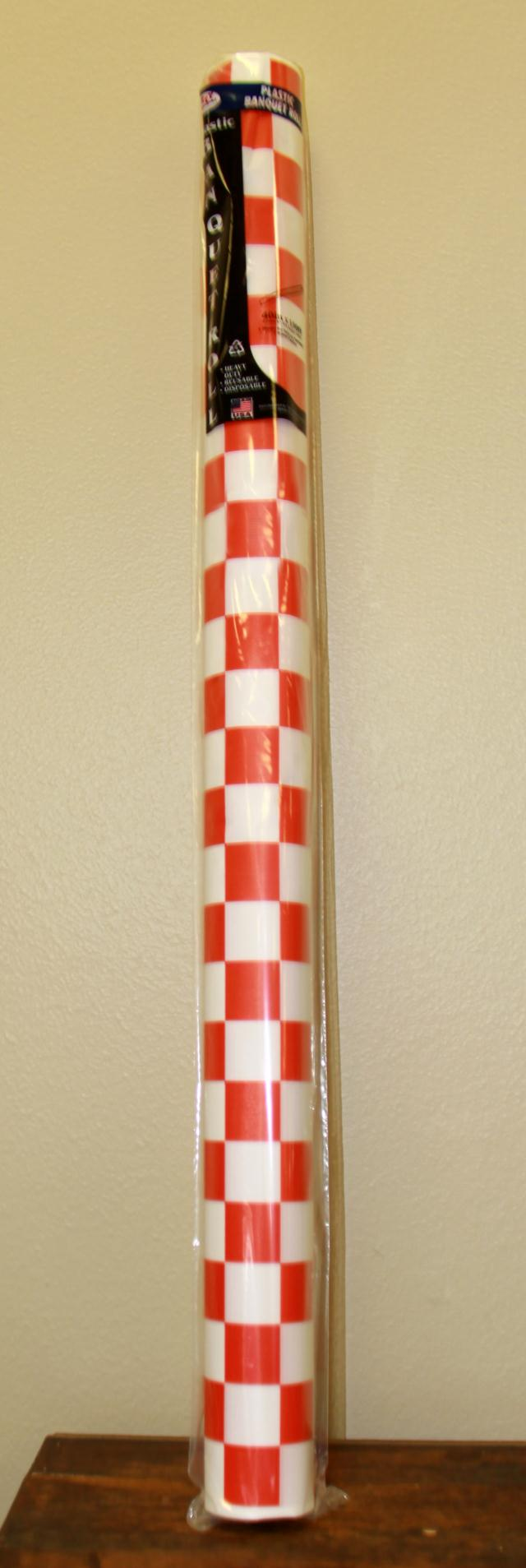 Where to find 40 X150  RED WHITE CHECK PLASTIC ROLL in Longview