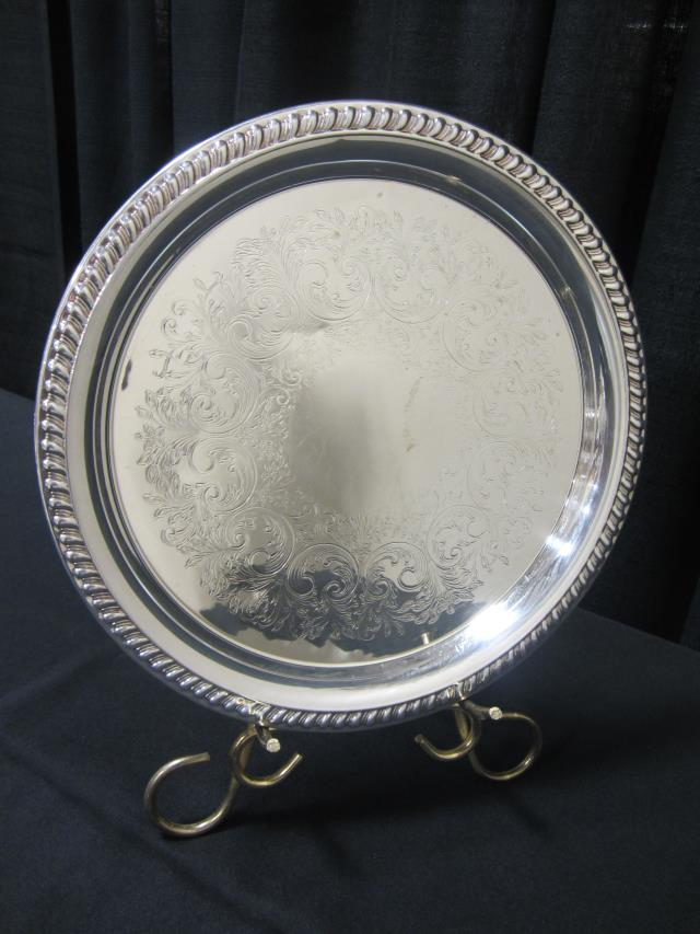 Where to find 12  ROUND SILVER SCROLL DESIGN TRAY in Longview