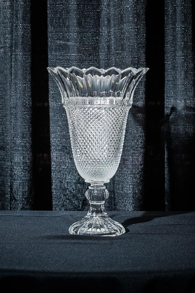 Where to find 16  TULIP CUT GLASS VASE in Longview