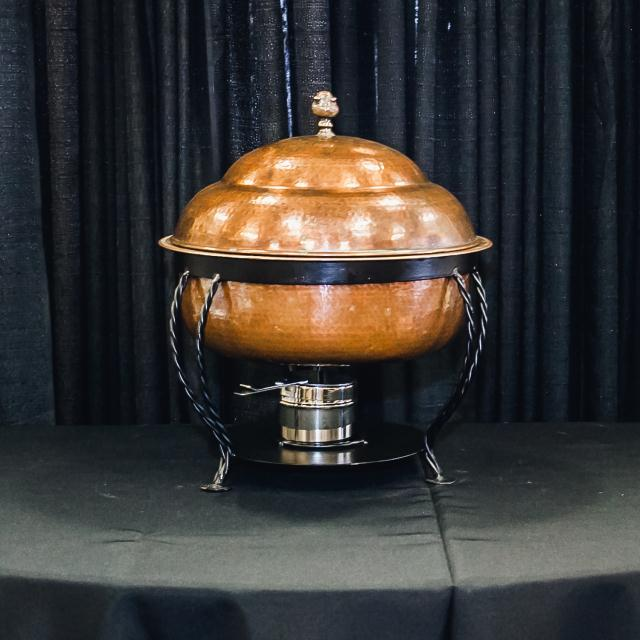 Where to find 8 QT ROUND COPPER HAMMERED CHAFER in Longview