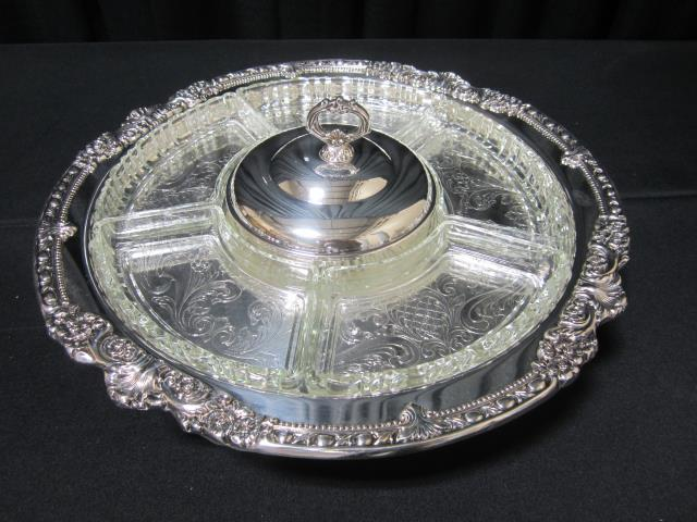 Where to find LAZY SUSAN SILVER W GLASS in Longview