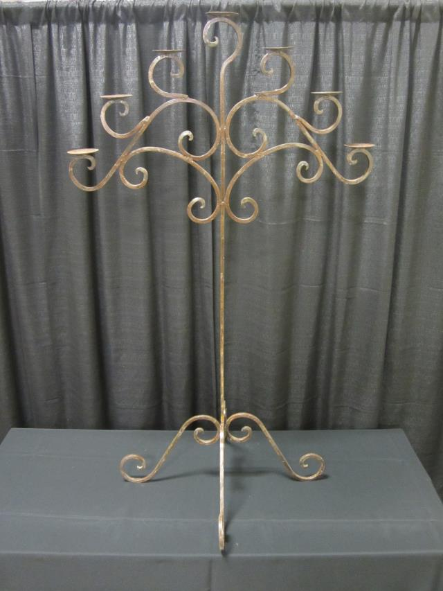 Where to find 7 LIGHT WROUGHT IRON ORNATE CANDELABRA in Longview