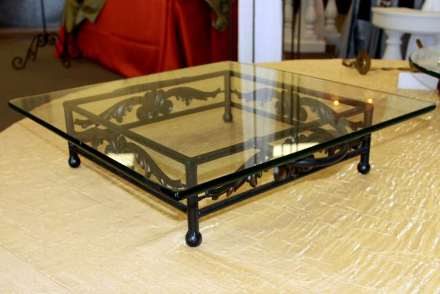 Where to find 18  SQUARE IRON MOTIF W GLASS CAKE STAND in Longview