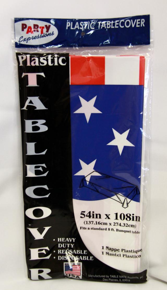 Where to find RECT STARS   STRIPES PLASTIC TABLECOVER in Longview