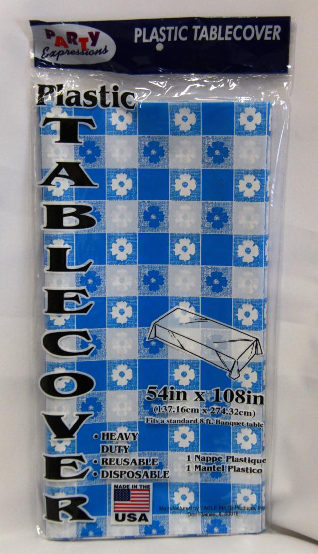 Where to find RECT BLUE GINGHAM PLASTIC TABLECOVER in Longview
