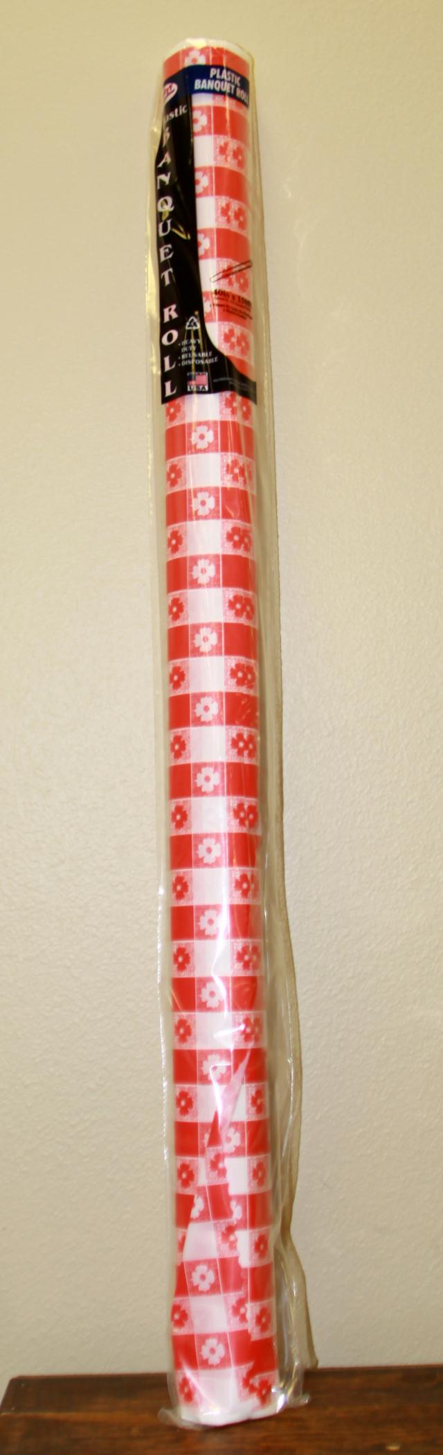 Where to find 40 X150  RED GINGHAM PLASTIC ROLL in Longview