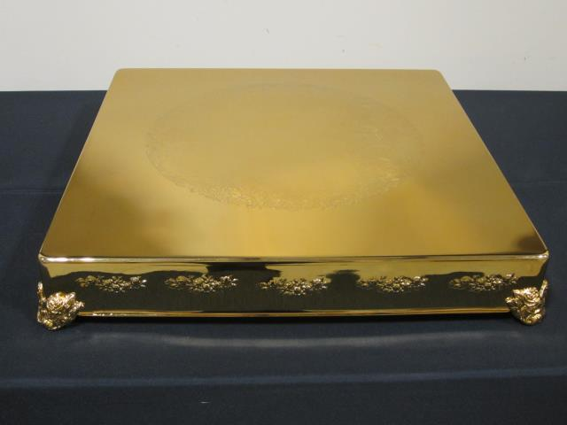 Where to find 22  SQUARE GOLD FINISH CAKE STAND in Longview