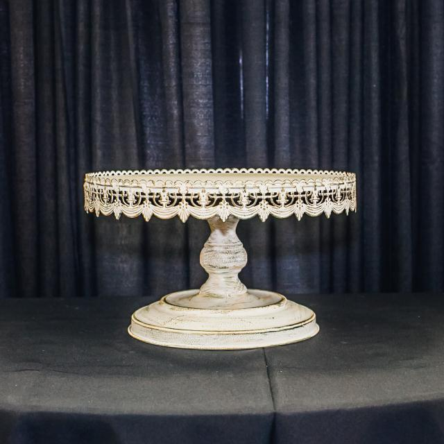 Where to find 16  ROUND WHITE ANTIQUE CAKE STAND in Longview