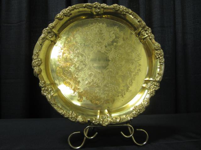 Where to find 16  ROUND GOLD TRAY in Longview